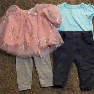 Lot of 2 girls size 6-9 month outfits